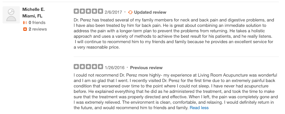 Image of a client review